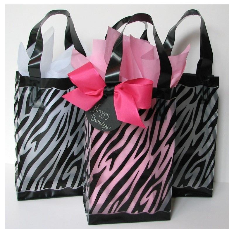 Frosted zebra gift bag