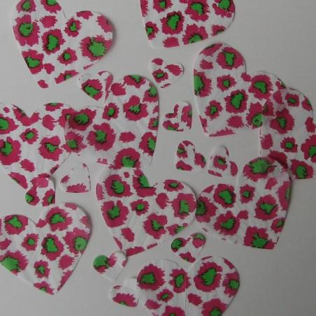 Pink Leopard table confetti