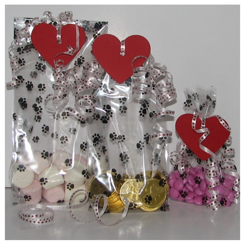Valentine paw print party bags