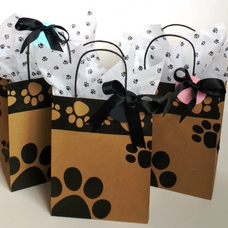 Paw print Kraft party bags