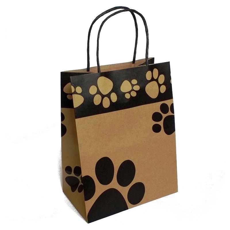 Large Paw Print Kraft Bag